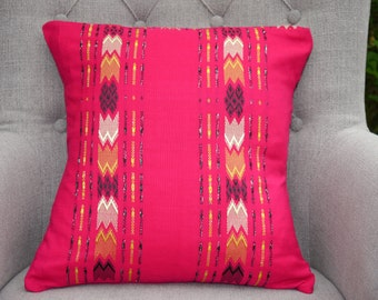 Pink Handmade Cushion Cover with Gold and Yellow Hand Weave
