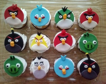 Angry Bird Cupcake Toppers (100% Edible)