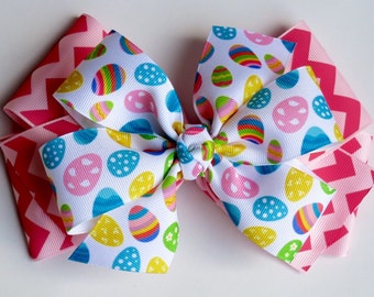 Pink Easter Egg Boutique Bow for Girls