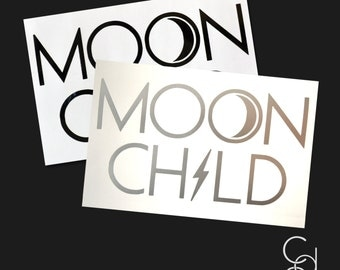 Moon Child Decal. Moon Decal. Silver Decal. Moon Child. Wall Decal. Car Decal. Metallic Decal.