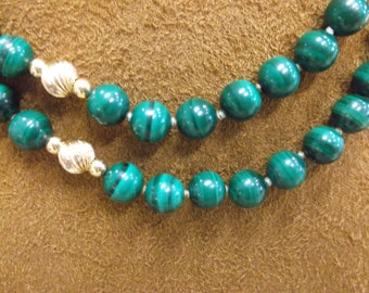 Pretty Malachite and 14k Gold Beaded Necklace