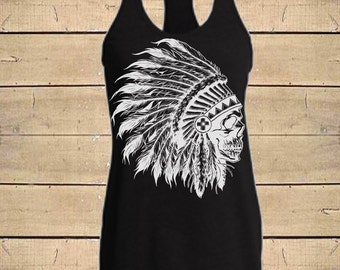 SKULL HEADDRESS Tank. Country Shirts, Indian Shirt, Indian tank, Skull Tank, Tribal Tank, Womens (Fitted Style) Tri-Blend Racerback Tank Top