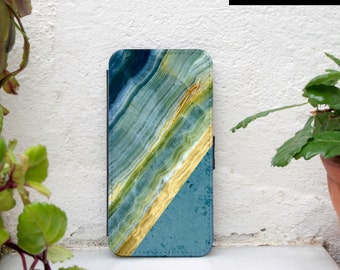 marble iphone 6 wallet case blue yellow colorblock iPhone 6 plus wallet case marble print iPhone 5c wallet case