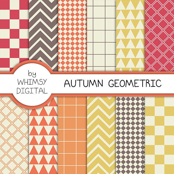 Autumn Geometric Digital Paper With Checkers, Chevron