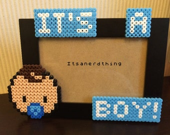 It's a Boy! Baby Picture or Photo Frame - Perler / Hama beads.