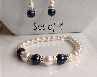 Set of 4 White and Navy Pearl Bracelet and Earrings | Bridal Jewelry Set | Pearl Bridal Set | Swarovski Pearls