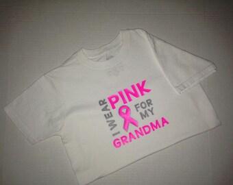 I Wear Pink For My Grandma (Mimi, Gigi, Mammaw, Aunt, Mom, Mommy) shirt/breast cancer awareness shirt