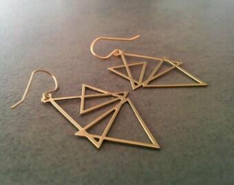 Triangle earrings, Geometric Earrings, Gold Earrings, Gold Triangle, Geometric Jewelry, Wedding Jewellery, Gift For Her, By HilaAssa Jewelry