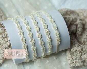 Handmade Newborn headband. Pearlescent ivory/cream. Photography prop