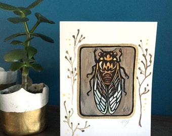 "Hand painted Cicada card, original miniature painting, ""Lincoln"" 2, blank greeting card, insect card, Cicada painting, whimsical art"