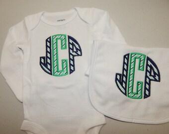 Boy's bodysuit and bib; boys personalized bodysuit; boys bib; Baby boy gift set; Boys bodysuit; Boys bib