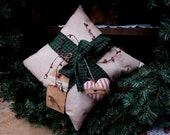 Primitive Christmas Package Pillow, Christmas Decoration, Handmade Primitive Pillow, Homespun Holidays, Prim Christmas, TeamHAHA, FAAP