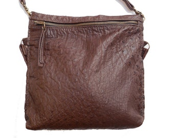Hand sewn ostrich leather shoulder bag. Ostrich leather bag