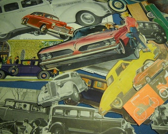 30 Piece Ephemera Pack Vintage Automobile Car Images All From Vtg books and magazines Color and B & W
