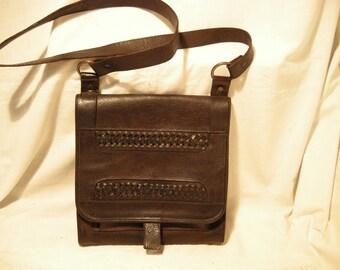 Vintage 1980's Dark Brown Leather Shoulder Bag
