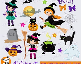 50% OFF SALE HALLOWEEN Digital Clipart, Halloween Witch Clipart, Witch Clipart