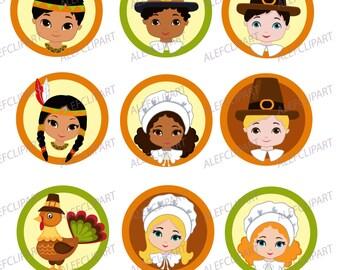 60% OFF SALE Thanksgiving Pilgrim Kids Digital Clipart PRINTABLE cupcake toppers