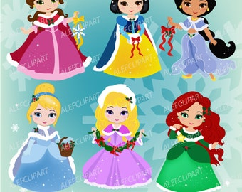 50% OFF SALE Princess Christmas Clipart