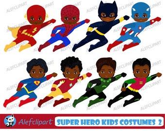 African American Superhero Clipart, Superhero Clipart,Superhero Kids Costumes Clip Art.