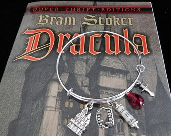 Dracula Recycled Book Page Charm Bangle