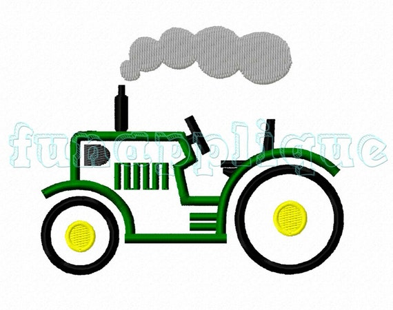 Tractor applique design for machine embroidery instant