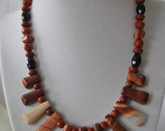 Red Jasper Tribal Necklace with Onyx, and Sterling Silver
