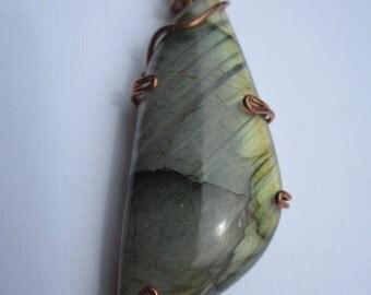 Copper labradorite pendant