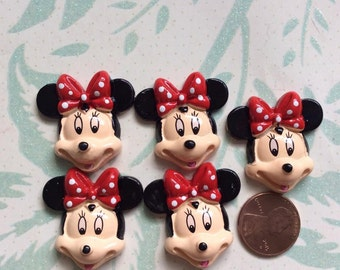 SET of 5  Minnie Mouse Resin Flatback Scrapbooking Hair Bow Center Crafts Making