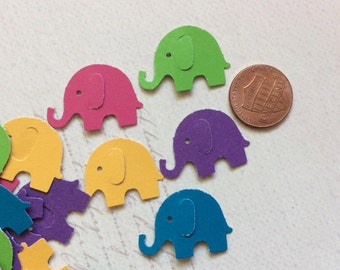 SET of 50 Bright Colored Baby Elephant Die cuts punches cardstock 1 inch -Scrapbook, cards, embellishment, confetti