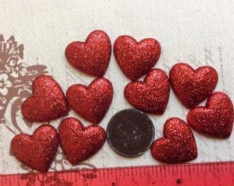SET of 10 Glitter Red Valentine Heart Flatbacks