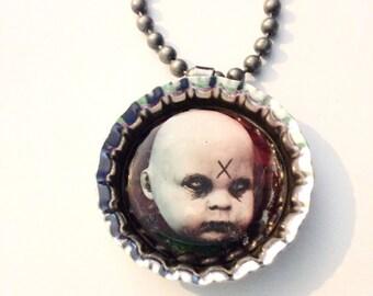 creepy doll face head necklace on ball chain christiecreepydolls