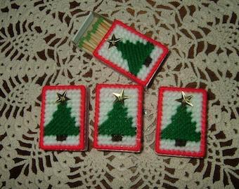 Christmas Match Boxes~Plastic Canvas~Needlepoint~Set of 4!