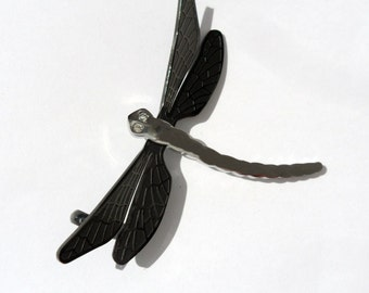 Dragonfly pendant charm pendant steel with black wings