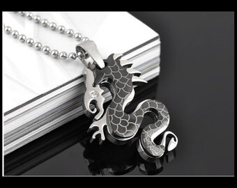 Pendant steel black dragon