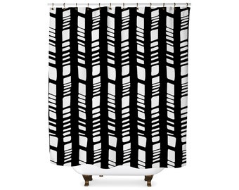 Black and white tribal modern shower curtain