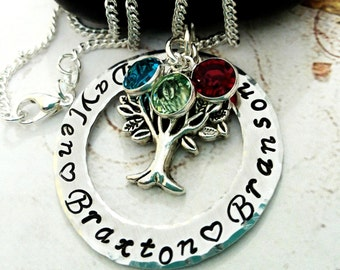 Personalized Family Tree Necklace, Name Necklace, Mom Necklace, Mother Jewelry, Grandma Necklace, Mother's Day Gift, Birthstone Necklace