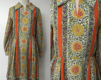 1970's John Norman The Most Colorful Kaleidoscope Patterned Dress