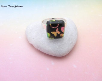 Butterfly jewelry,butterfly ring,dichroic glass jewelry, adjustable ring butterfly