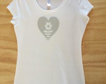 Hand screen printed   Silver Heart T-shirt   Organic Cotton   Australian Made