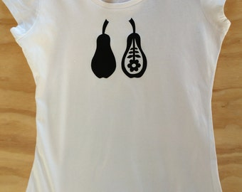 Hand Screen Printed | Black Pears | Women's T-shirt | Organic Cotton | Australian Made