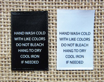 "Printed Satin Care Labels- Hand Wash Cold with Like Colors - 1"" (W) x 1.5"" (H) - Straight Cut Labels - Black or White Color - 100 PCS"
