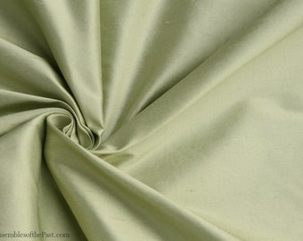 "Silk Fabric - Solid Pastel Spring Green - Dupioni Fabric - 100% Silk - by the yard - 54"" WIDE - EP Silk #35"