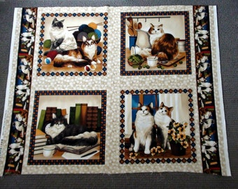 Cushion fabric. Animal fabric. Quilt blocks. Cat fabric panel. Kitten quilt panel material. Cotton Pillow panel. Quilting squares. Four Paws