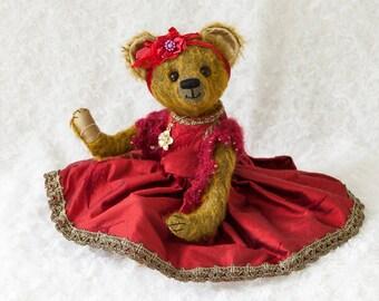 Bekkiebears OOAK artist bear Sally mohair silk
