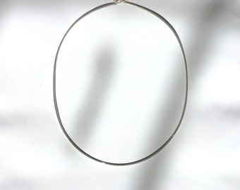 Sterling Silver Wire Choker Necklace 15.5""