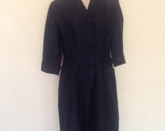 1950s navy blue with lace trim dress