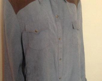 Vintage Ultra Suede Pearl Snap Western Shirt