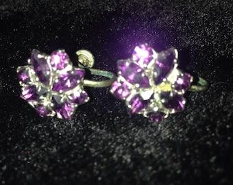 "1940""s Purple Rhinestone Earrings"