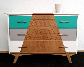 Redesigned vintage 50s oak Dresser