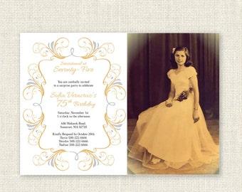 Surprise 75th Birthday Invitation, Digital Printable File